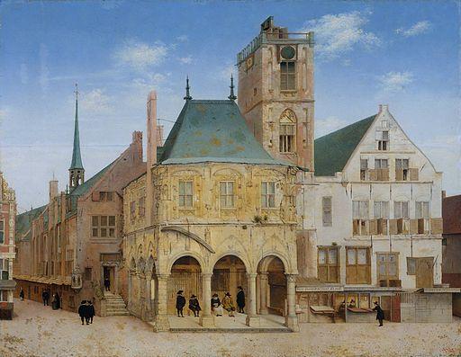 Stary ratusz w Amsterdamie, w którym w 1609 roku założono Bank Amsterdamski. Obraz Pietera Saenredama. Źródło: wikipedia.org